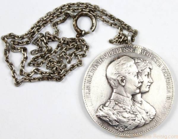 Ehejubiläums-Medaille zur goldenen Hochzeit 1888 an Kette