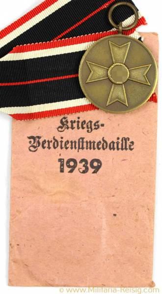 Kriegsverdienstmedaille 1939 + Verleihungstüte