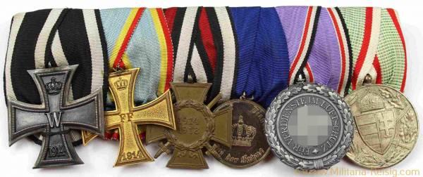 Ordensspange mit 6 Auszeichnungen, Kaiserreich, 1. Weltkrieg, 3. Reich