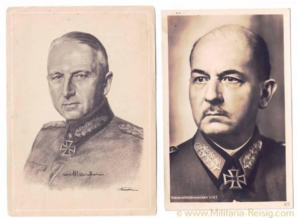 Portraitpostkarten von 2 Ritterkreuzträgern (Generallfeldmarschall W. List u. E. von Manstein)