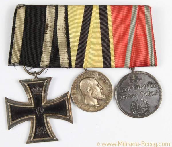 Ordensspange mit 3 Auszeichnungen, (EK 2 1914, DA 3. Kasse, MVM)
