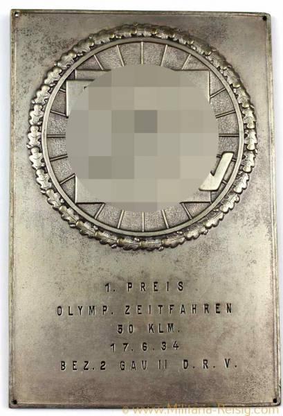 """Plakette DRV """"1. Preis Olymp. Zeitfahren 50 Klm. 1934"""", 3. Reich"""