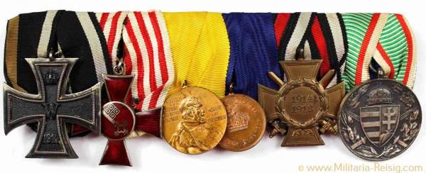 Ordensspange mit 6 Auszeichnungen, Kaiserreich, 1. Weltkrieg